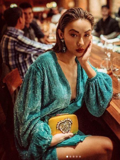 Retrofete Green Gabrielle Sequin Wrap Mini Dress Size 6