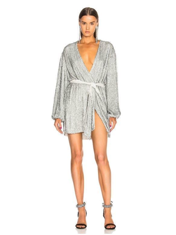 f0dae534 RETROFETE Silver Gabrielle Sequin Wrap Mini Dress Size 14   The Volte
