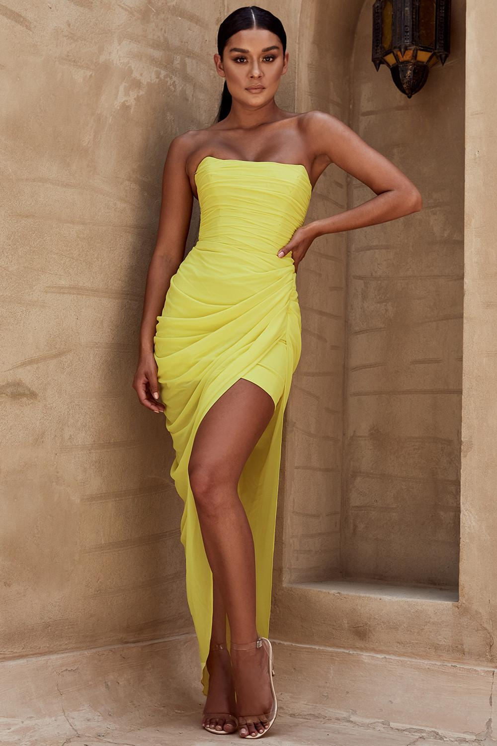 HOUSE OF CB Paloma Dress Yellow size 8 | The Volte