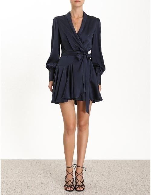 Zimmerman Wrap Short Dress French Navy Size 10 The Volte