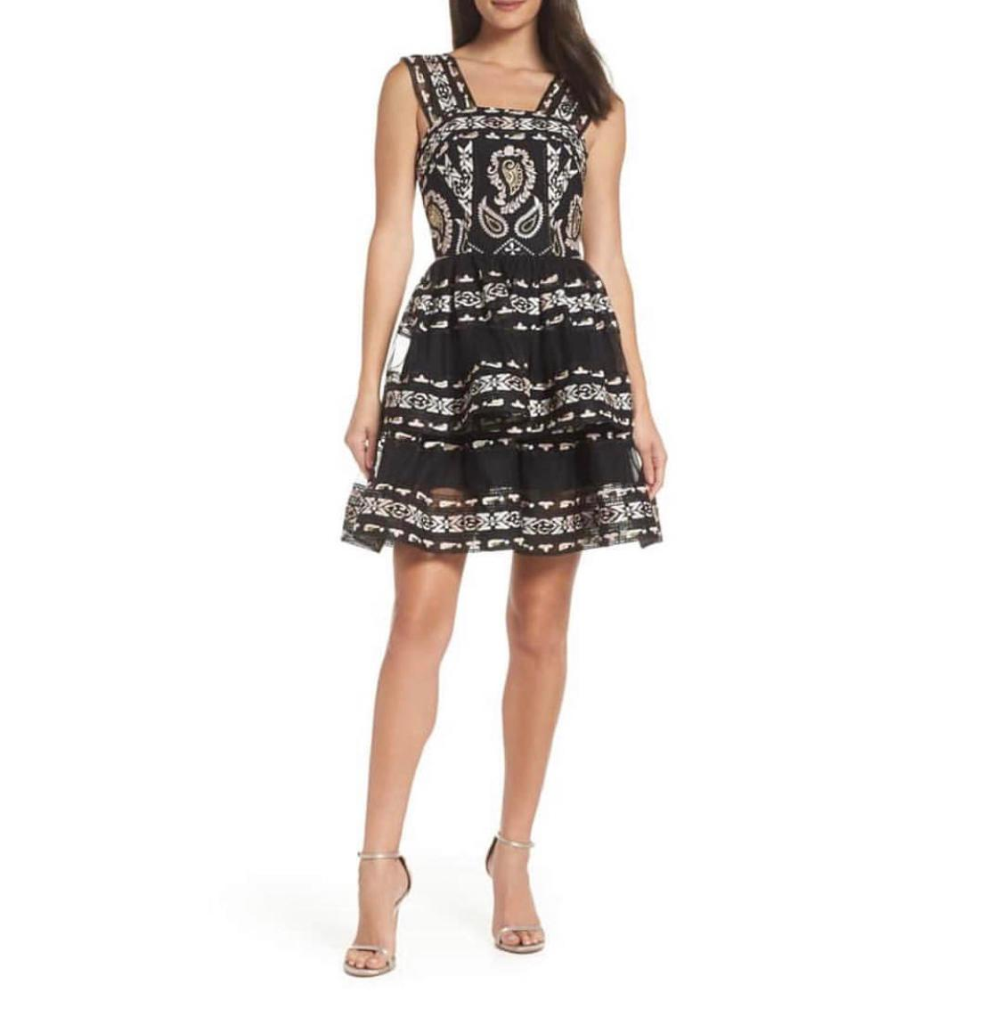 Bronx And Banco Ethnos Lace Fit Amp Flare Black Dress Size
