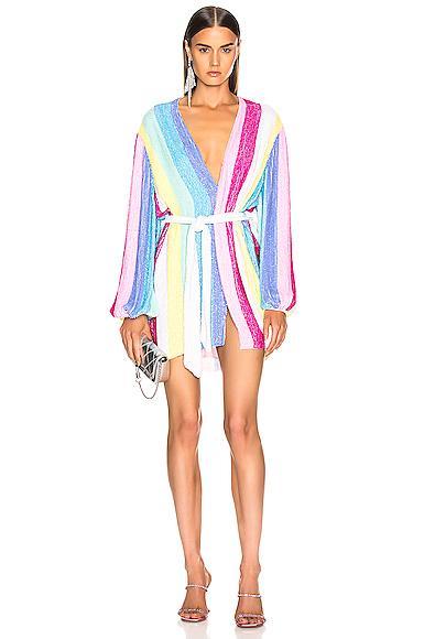 Retrofete Gabrielle Robe Dress In Unicorn Stripes Size S