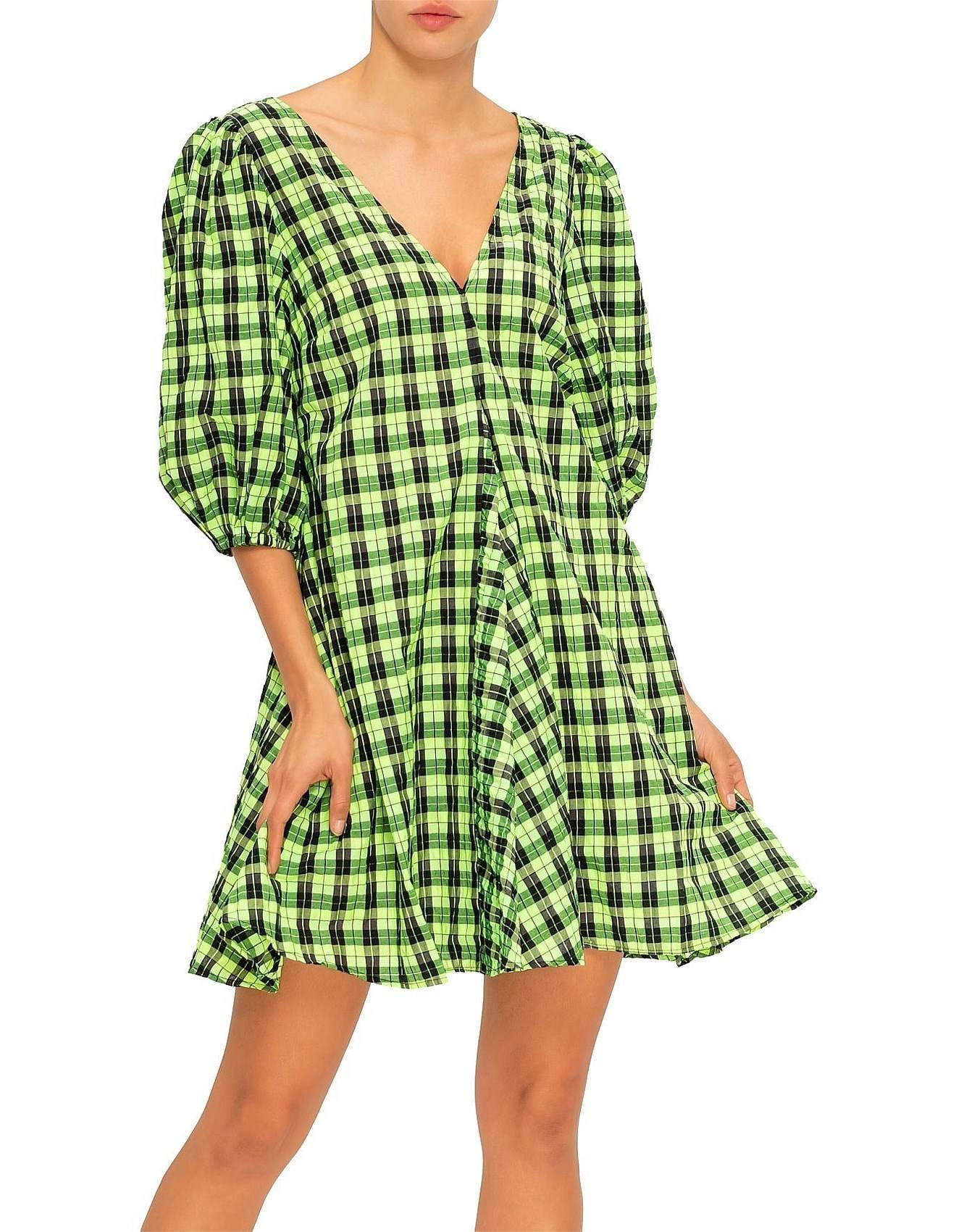 Ganni Checked Seersucker Mini Dress Size 10 The Volte
