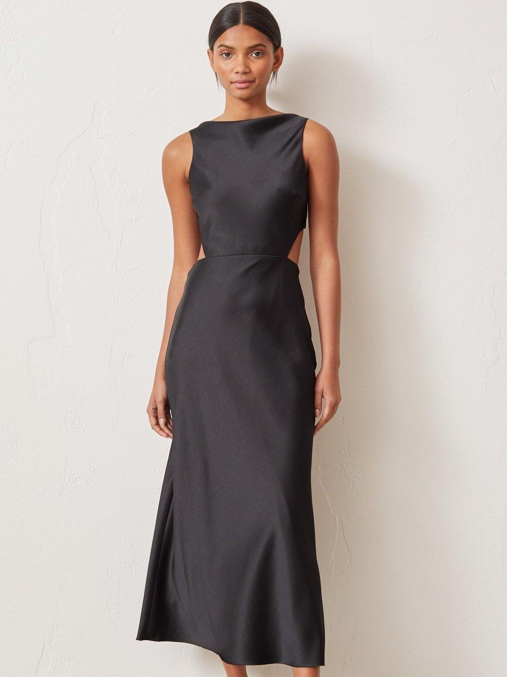Kylie Black Bodycon Midi Dress With Knot Tie - New In from