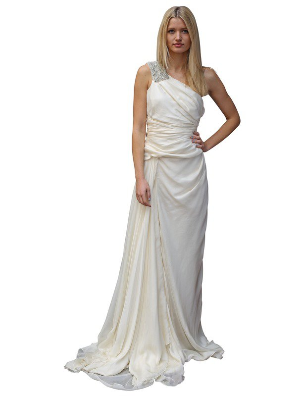 114 - Aurelio Costarella white one-shoulder gown