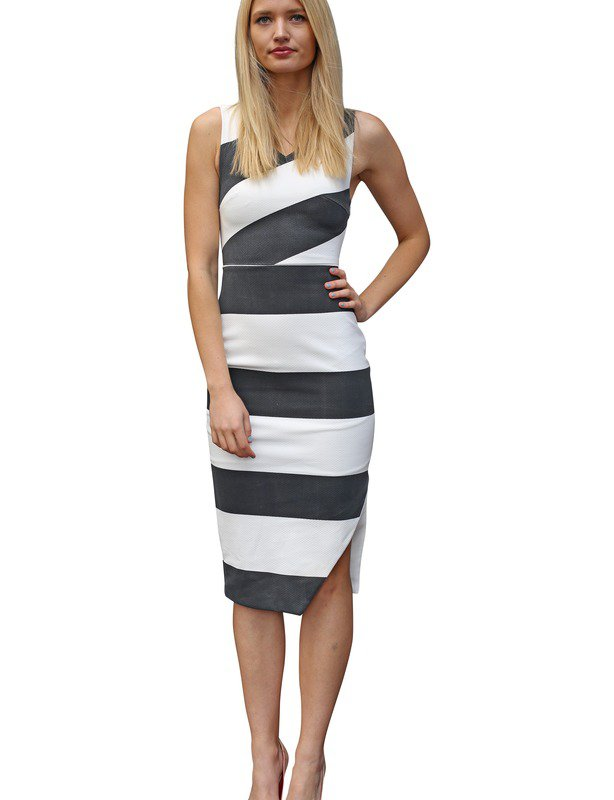 129 - Staple the Label black and white striped dress