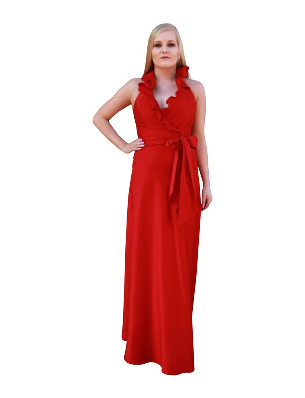 Stellini Red Ruffle Dress Gown