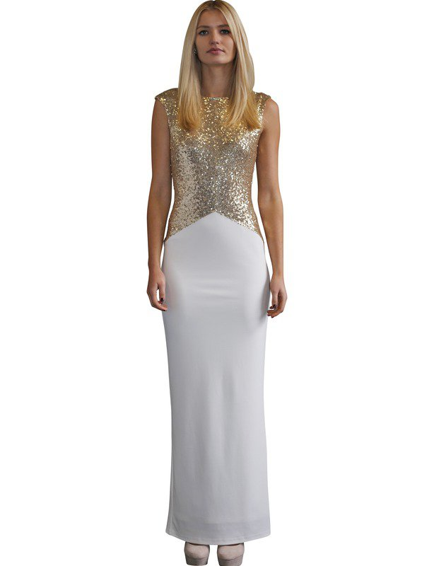 Elle Zeitoune Ruby Gold and White Gown