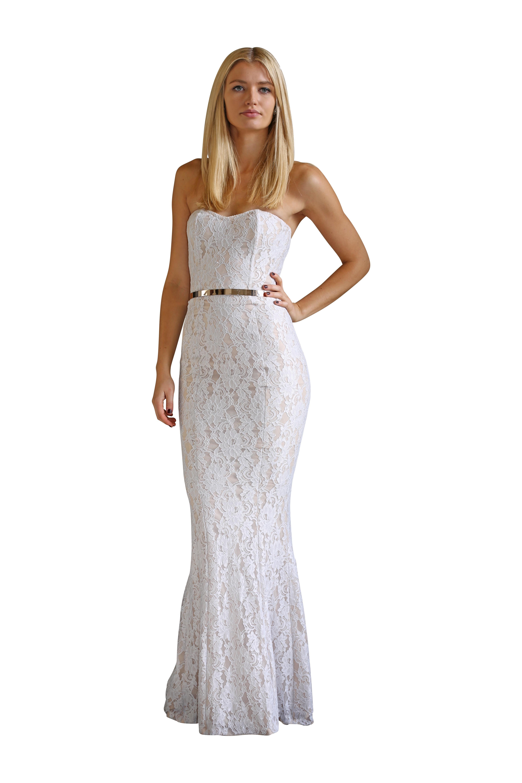 Portia Scarlett Rita Robyn White Lace Gown Size 8 The Volte
