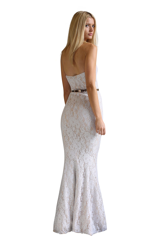 Portia & Scarlett Rita Robyn White Lace Gown size 8   The