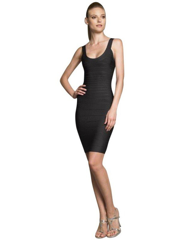 Herve Leger Black Scoop Dress