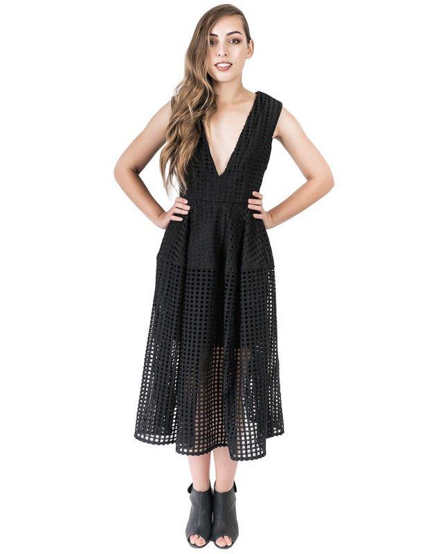 Nicholas Black Grid Lace Deep V Ball Dress size 6