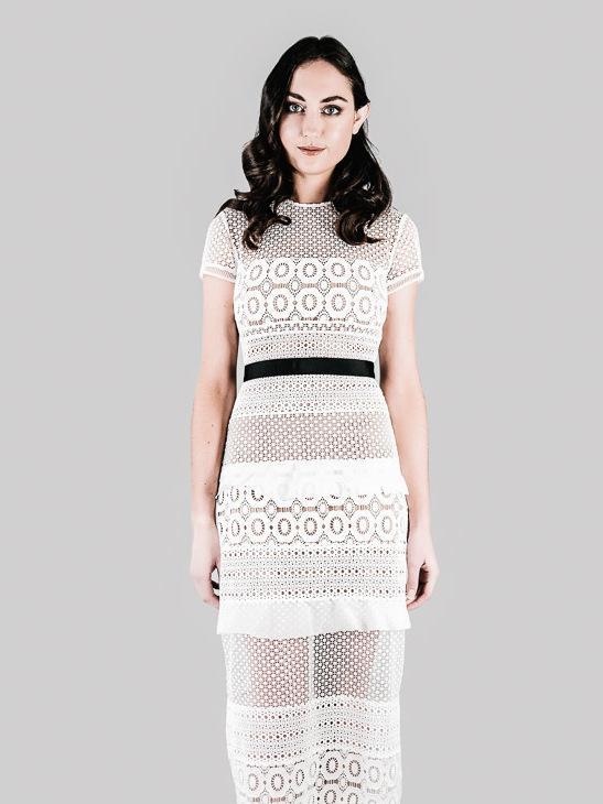 Self Portrait White Oblique Lace Column Dress Size 8 The Volte