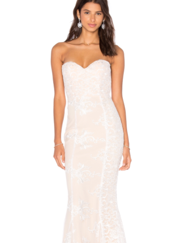 Elle Zeitoune Angelique White Lace Gown
