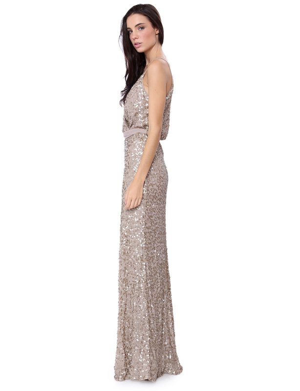 Billion Dollar Babes Helena White Sequinned Gown