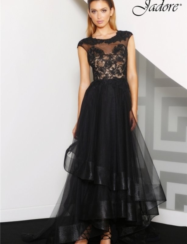 Jadore Black Lace Sheer Gown