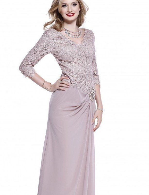 Shail K dusty rose lace chiffon gown