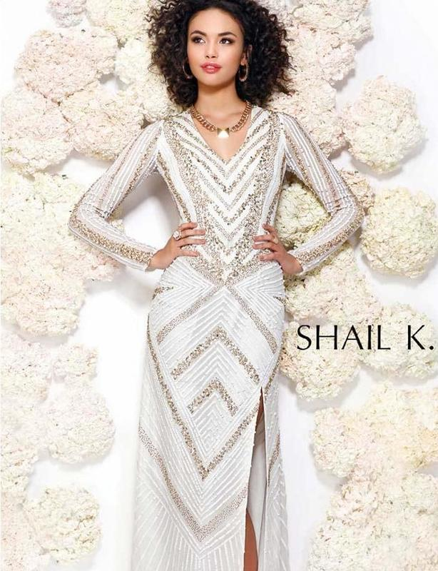 Shail K white and gold sequinned full length gown