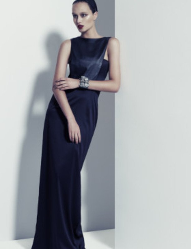 Ange Lang black satin and leather column dress Ange Lang