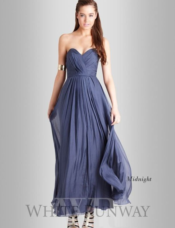 Truese Bella dark grey strapless silk gown