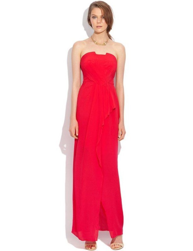 Truese Strapless Raspberry Gown