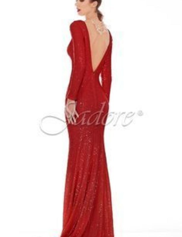 Jadore Floor Length Red Sequinned Gown