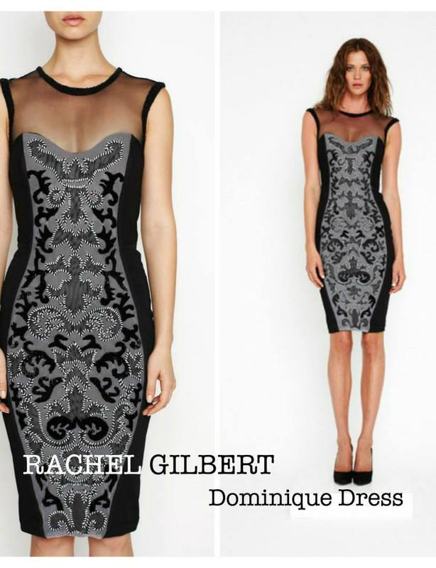 Rachel Gilbert Black Lace Dominique Cocktail Dress