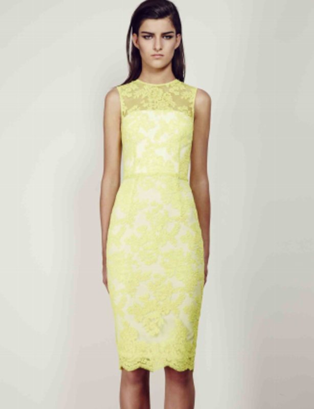 Alex Perry Yellow Abelle Sleeveless Lace Dress