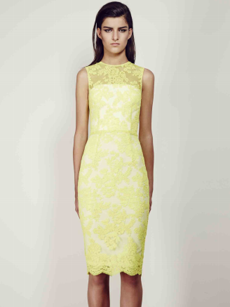 Alex Perry Yellow Abelle Sleeveless Lace Dress Size 8 The