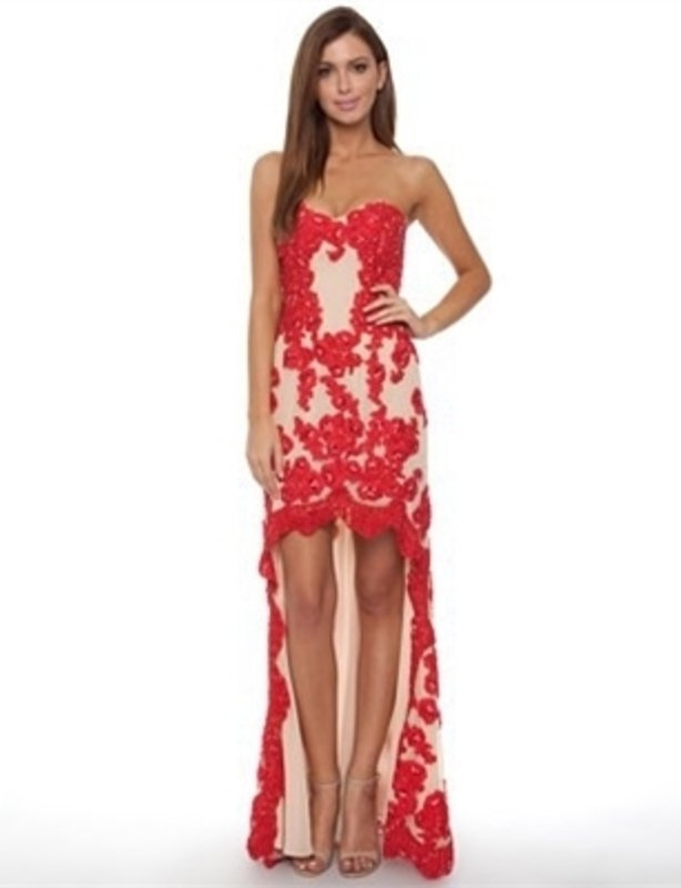 Grace & Hart Baroquian Gown in Red and Nude
