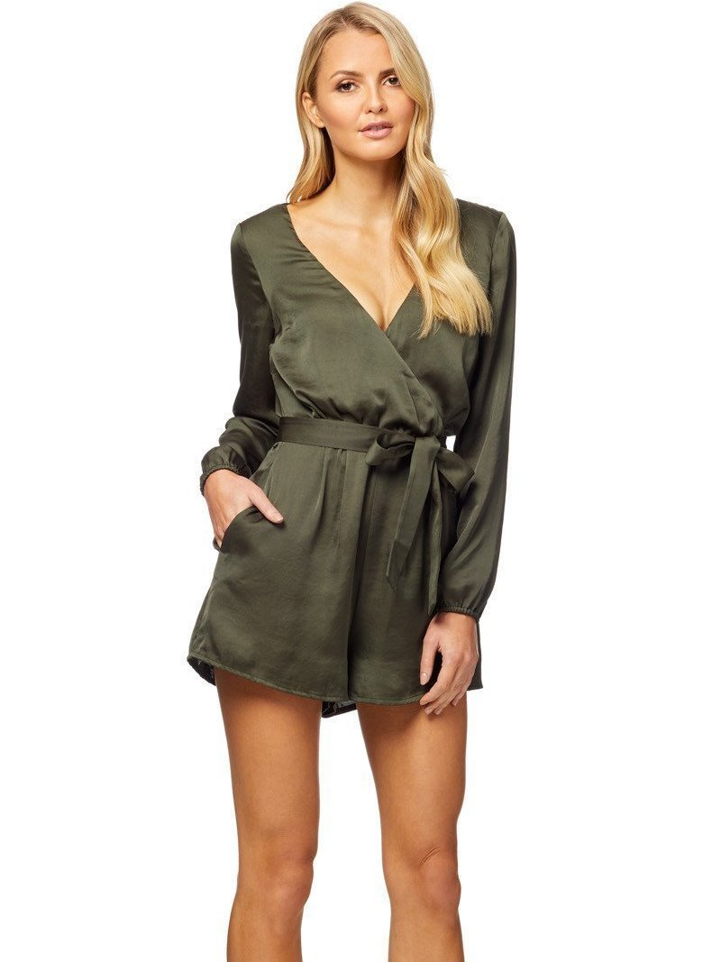 Kookai Pearl Playsuit Khaki The Volte