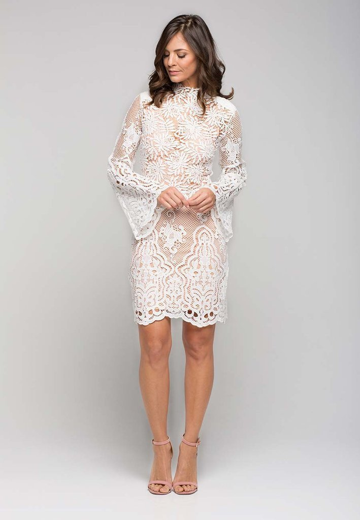 White Suede Ivory Mini Lace Shift Dress The Volte