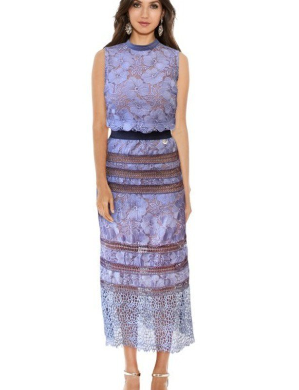 Bronx and Banco Lilac Tuscany Lace Midi Dress