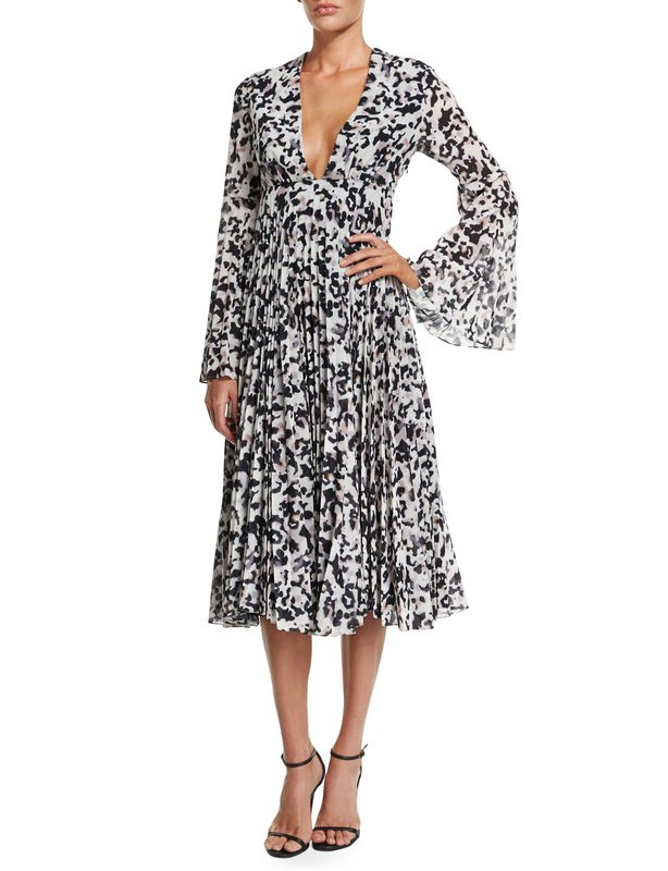 CAMILLA AND MARC  Long Sleeve Pleated Midi Cocktail Dress - Size 10