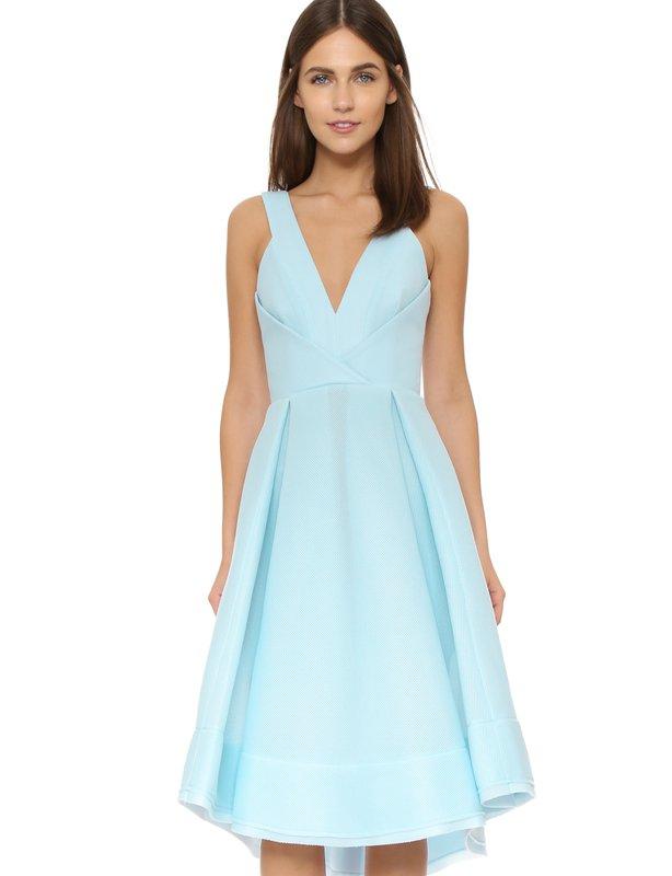 Nicholas Blue Deep V Mesh Ball Dress size 8