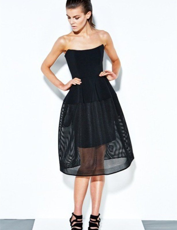Nicholas Black Honeycomb Mesh Ball Dress size 10
