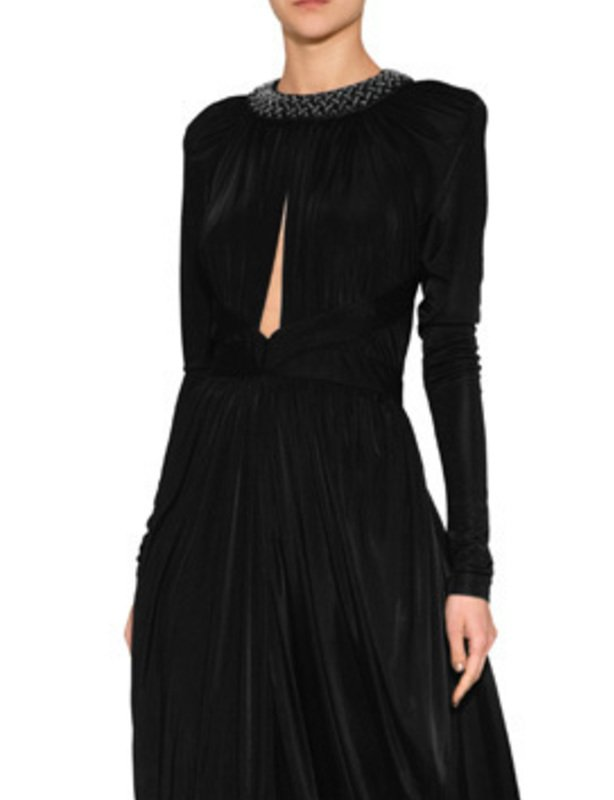 Balmain - Black Crystal Embellished Gown