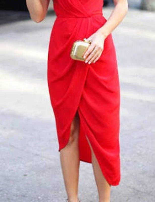 ZIMMERMANN plunge silk red dress 10