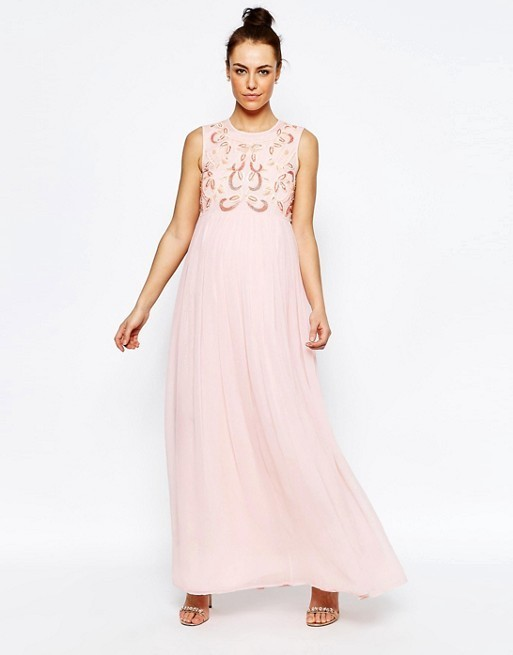 Asos embellished Maxi dress with chiffon skirt pink size 8