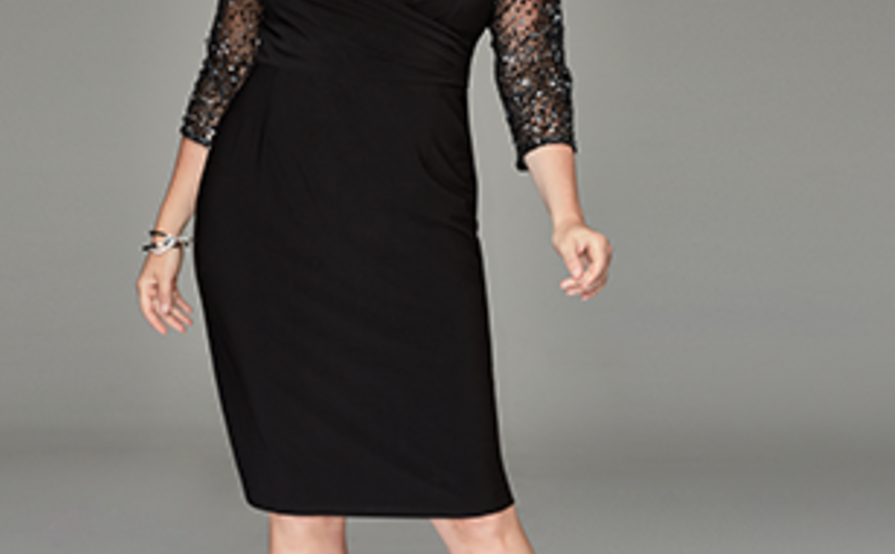 Adrianna Papell Plus Size Illusion-Sleeve Stretch Dress size ...