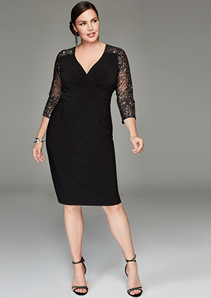Adrianna Papell Plus Size Illusion-Sleeve Stretch Dress size 18 ...