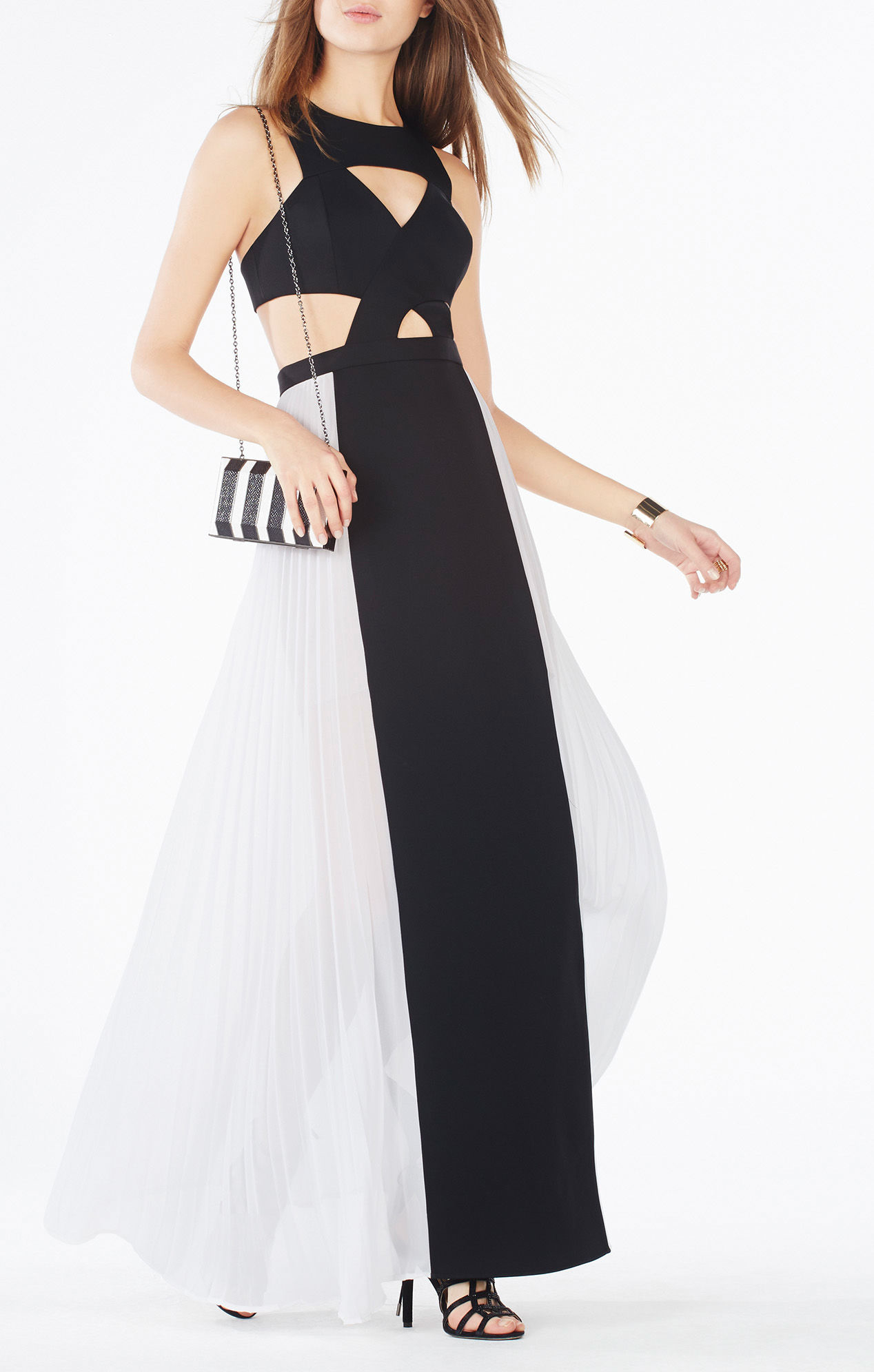 BCBGMAXAZRIA Giselle Cutout Pleated Gown size 6   The Volte