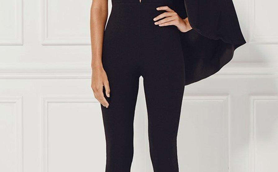 393cd4d180db Misha Collection Black Juliana Half Caped Jumpsuit size 6 ...