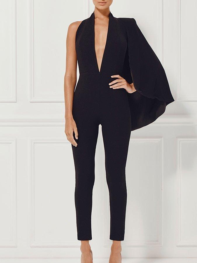 674980ce0c Misha Collection Black Juliana Half Caped Jumpsuit size 6