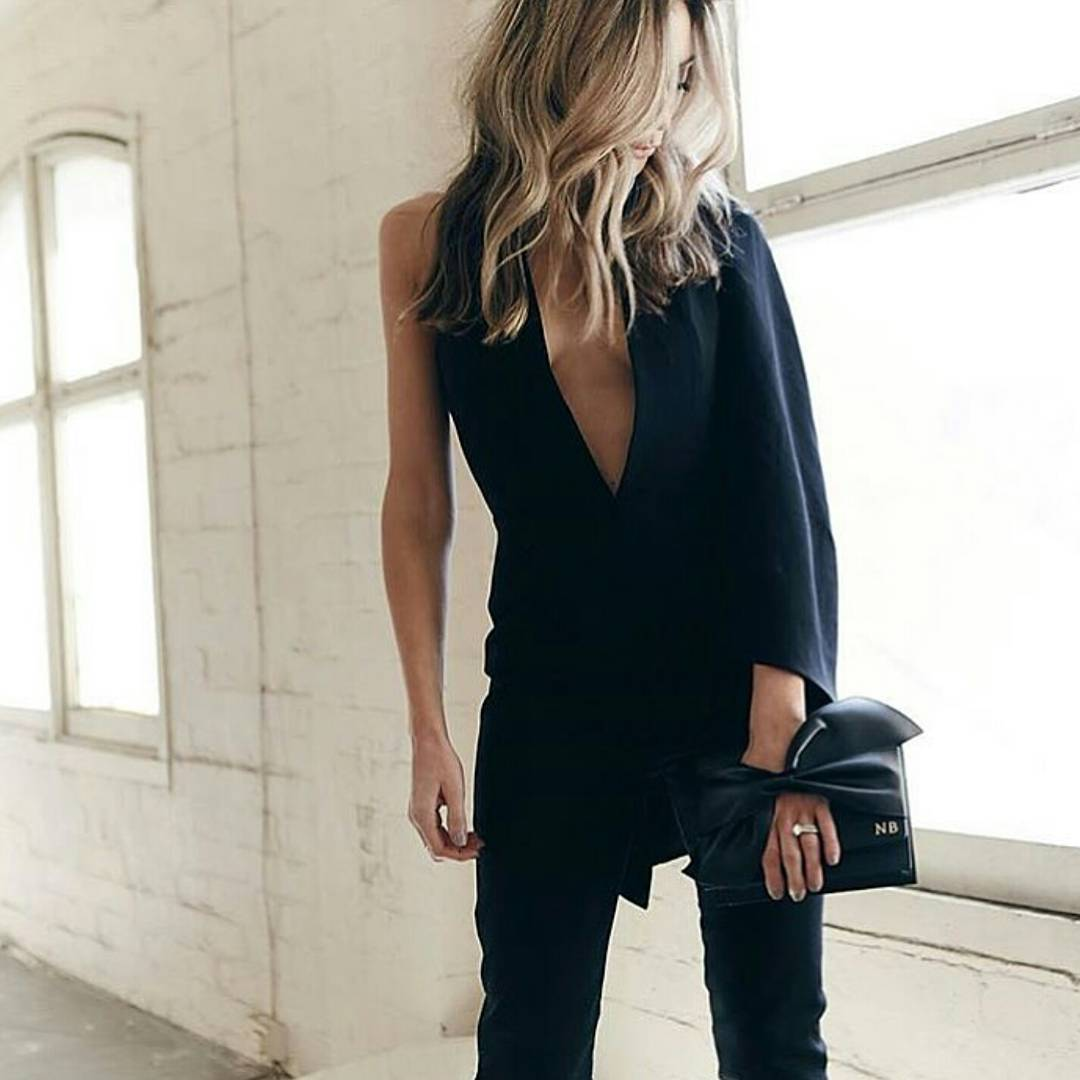 4d74e4f2c1c4 Misha Collection Black Juliana Half Caped Jumpsuit size 6
