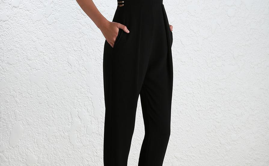 ceddb7f7326 Zimmermann Crepe Harness Black Jumpsuit size 10 ...