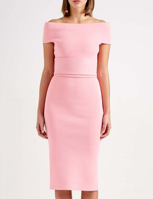 Scanlan Theodore Pink Crepe Knit Cold Shoulder Dress (size XS)