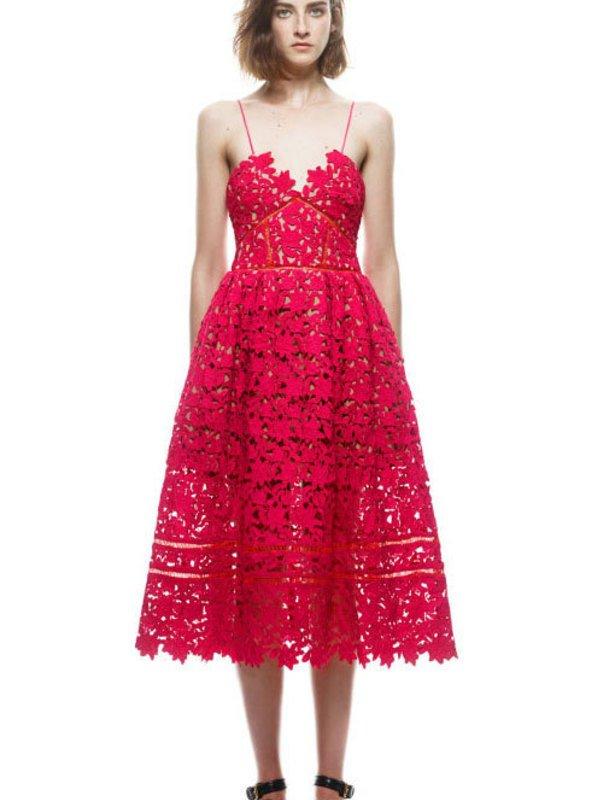 Self Portrait Red Lace Azalea Dress size 8