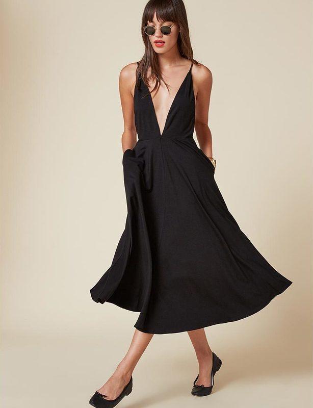 Reformation Naya Midi Dress Black size 8