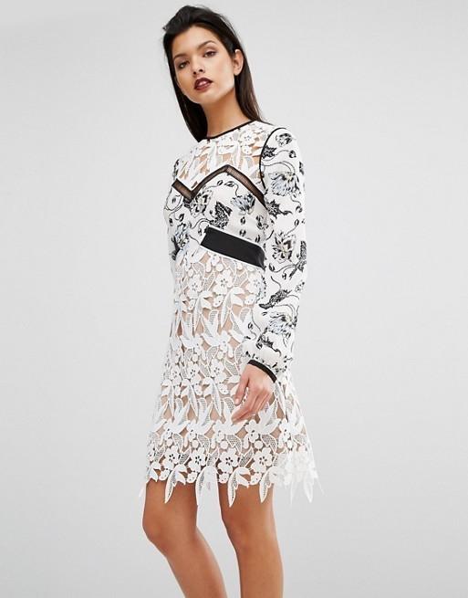 a17298f3efdb7 Self Portrait White Swallow Guipure Dress Size 12 | The Volte